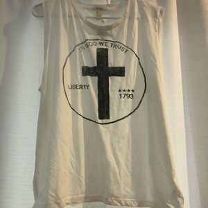 NWT In God we trust muscle tank